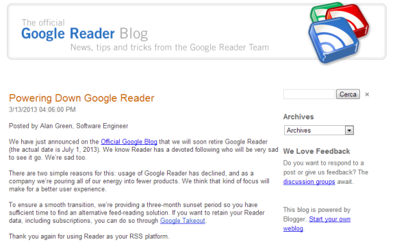 Powering Down Google Reader